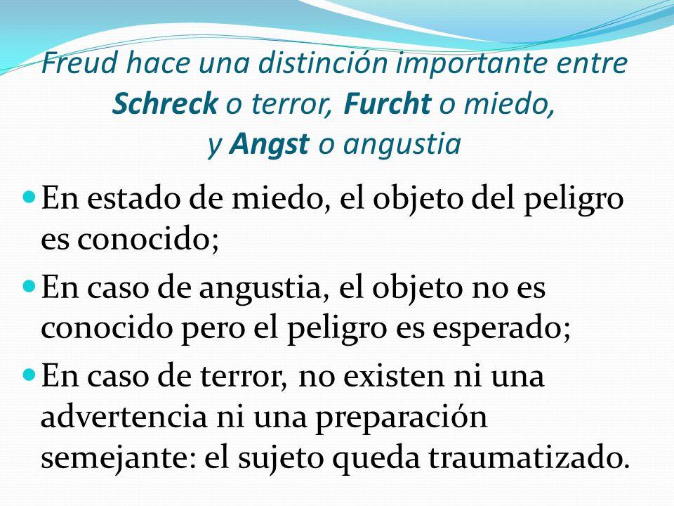 Freud hace una distinción importante entre Schreck o terror, Furcht o miedo, y Angst o angustia En estado de miedo, el objeto del peligro es conocido; En caso de angustia, el objeto no es conocido pero el peligro es esperado; En caso de terror, no existen ni una advertencia ni una preparación semejante: el sujeto queda traumatizado.