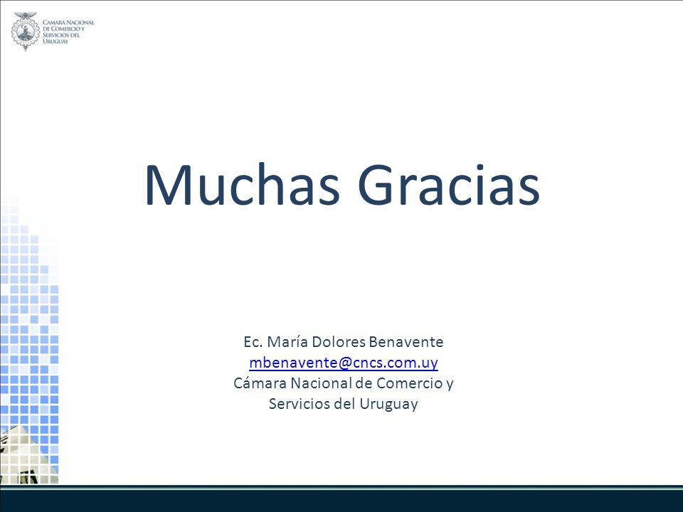 Muchas Gracias Ec. María Dolores Benavente mbenavente@cncs.com.uy Cámara Nacional de Comercio y Servicios del Uruguay
