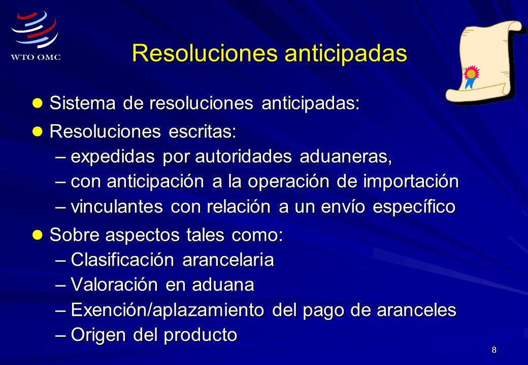 8 Resoluciones anticipadas Sistema de resoluciones anticipadas: Sistema de resoluciones anticipadas: Resoluciones escritas: Resoluciones escritas: –ex