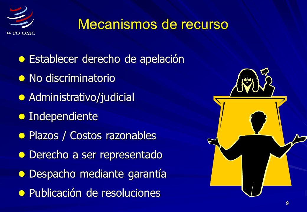 9 Mecanismos de recurso Establecer derecho de apelación Establecer derecho de apelación No discriminatorio No discriminatorio Administrativo/judicial