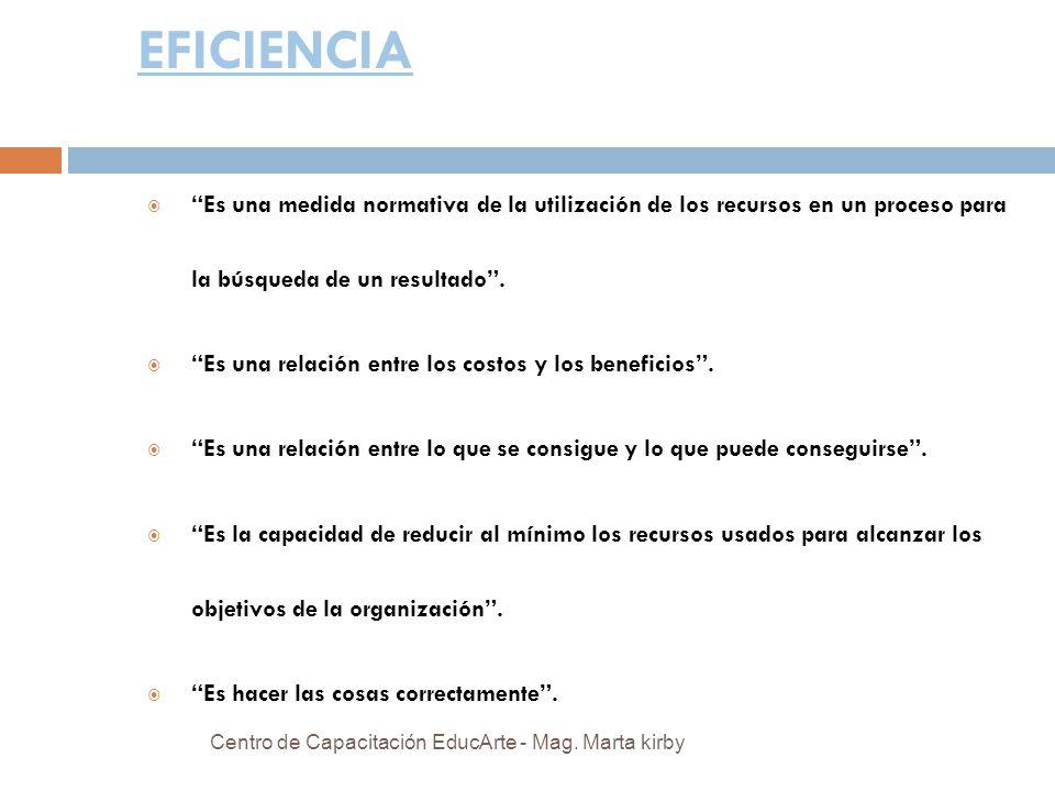 EFICIENCIA Es una medida normativa de la utilización de los recursos en un proceso para la búsqueda de un resultado.