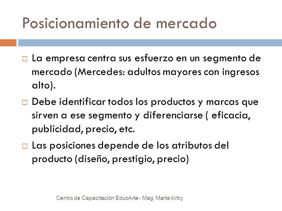 Posicionamiento de mercado La empresa centra sus esfuerzo en un segmento de mercado (Mercedes: adultos mayores con ingresos alto).