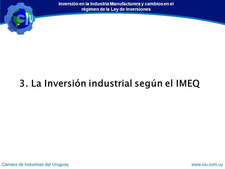 3. La Inversión industrial según el IMEQ Inversión en la Industria Manufacturera y cambios en el régimen de la Ley de Inversiones
