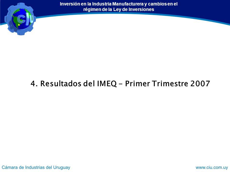 4. Resultados del IMEQ - Primer Trimestre 2007 Inversión en la Industria Manufacturera y cambios en el régimen de la Ley de Inversiones