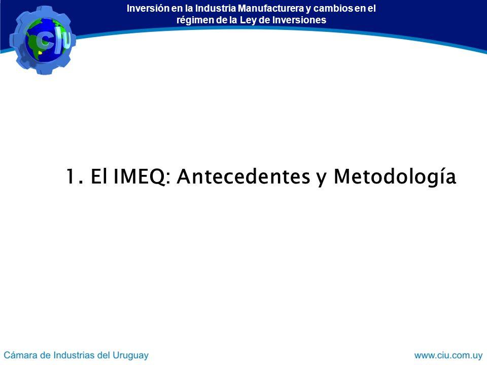 1. El IMEQ: Antecedentes y Metodología Inversión en la Industria Manufacturera y cambios en el régimen de la Ley de Inversiones