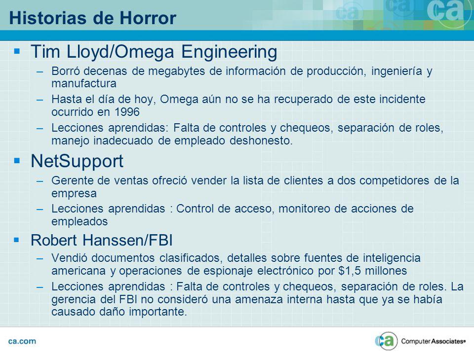 Historias de Horror Tim Lloyd/Omega Engineering –Borró decenas de megabytes de información de producción, ingeniería y manufactura –Hasta el día de ho