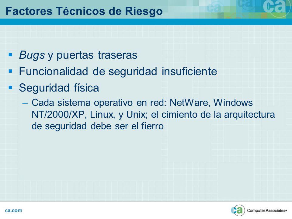 Factores Técnicos de Riesgo Bugs y puertas traseras Funcionalidad de seguridad insuficiente Seguridad física –Cada sistema operativo en red: NetWare,