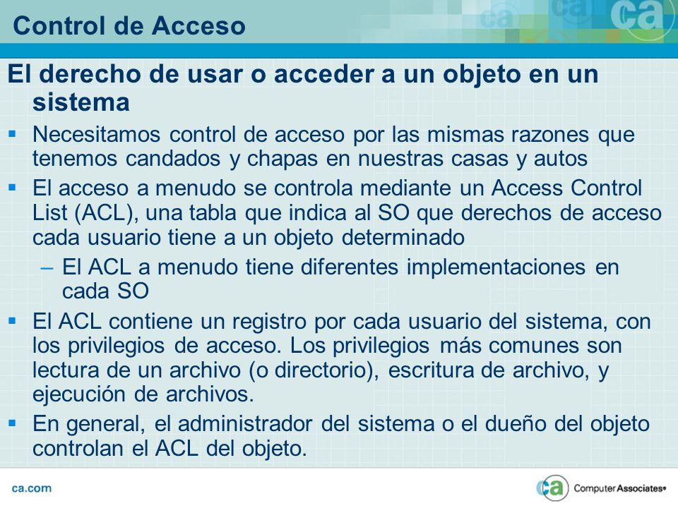 Control de Acceso El derecho de usar o acceder a un objeto en un sistema Necesitamos control de acceso por las mismas razones que tenemos candados y c