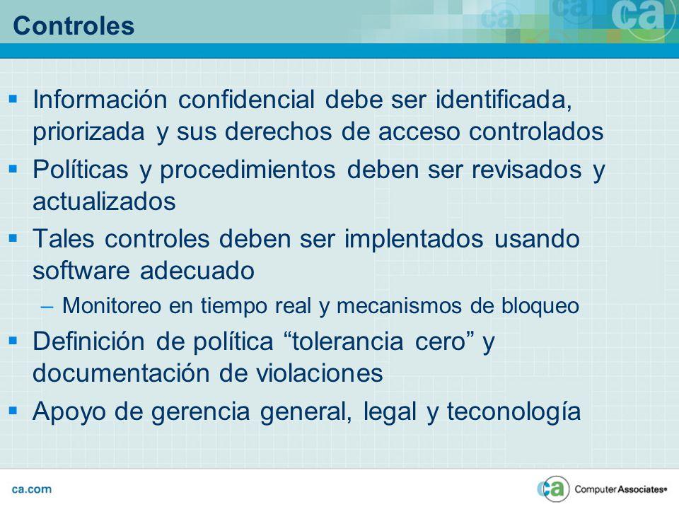 Controles Información confidencial debe ser identificada, priorizada y sus derechos de acceso controlados Políticas y procedimientos deben ser revisad
