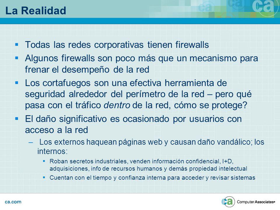 La Realidad Todas las redes corporativas tienen firewalls Algunos firewalls son poco más que un mecanismo para frenar el desempeño de la red Los corta