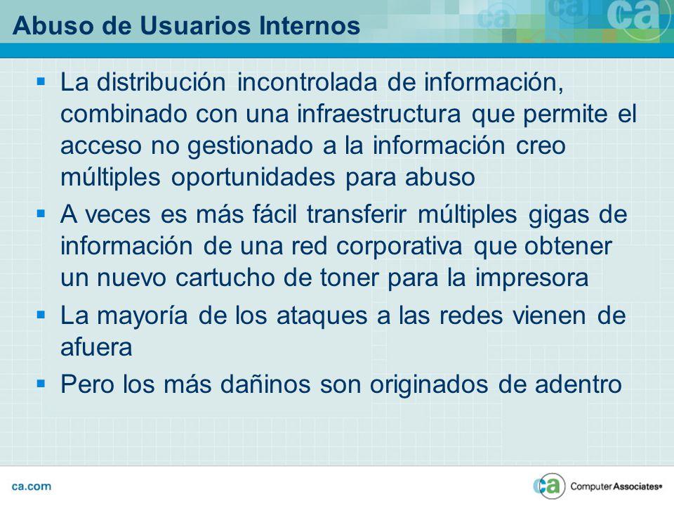 Abuso de Usuarios Internos La distribución incontrolada de información, combinado con una infraestructura que permite el acceso no gestionado a la inf