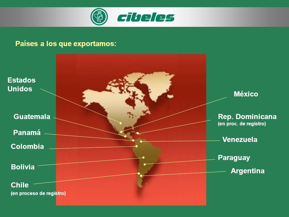 Países a los que exportamos: Argentina Bolivia Colombia Panamá Guatemala Venezuela México Estados Unidos Paraguay Chile (en proceso de registro) Rep.