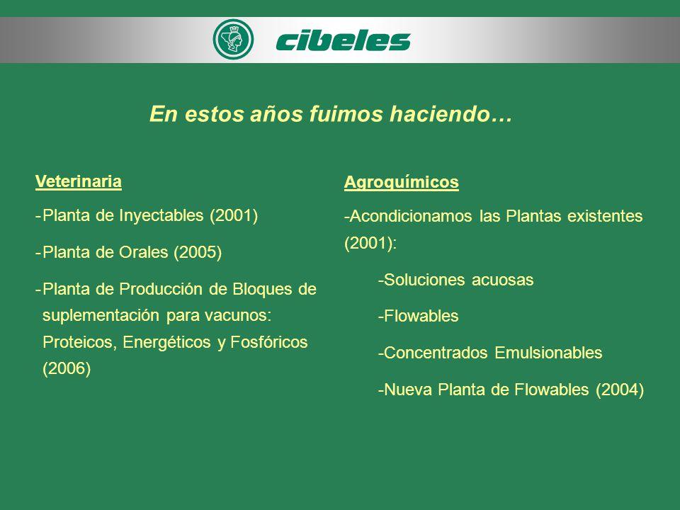 En estos años fuimos haciendo… Veterinaria -Planta de Inyectables (2001) -Planta de Orales (2005) -Planta de Producción de Bloques de suplementación para vacunos: Proteicos, Energéticos y Fosfóricos (2006) Agroquímicos -Acondicionamos las Plantas existentes (2001): -Soluciones acuosas -Flowables -Concentrados Emulsionables -Nueva Planta de Flowables (2004)
