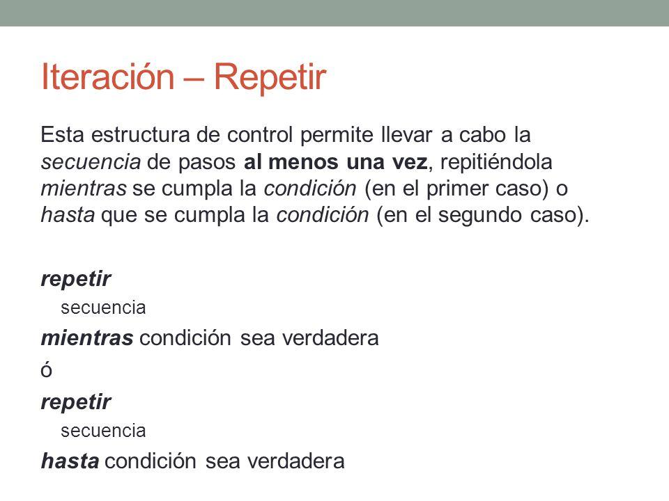 Iteración - Mientras Esta estructura de control permite repetir la secuencia de pasos mientras se cumpla la condición.