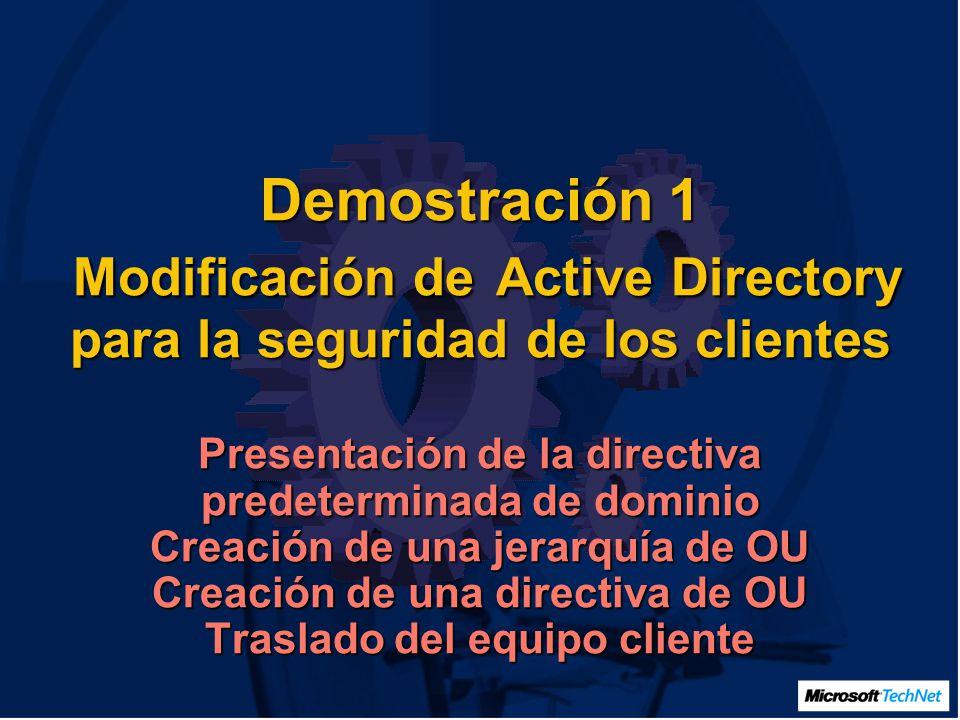 Demostración 1 Modificación de Active Directory para la seguridad de los clientes Presentación de la directiva predeterminada de dominio Creación de una jerarquía de OU Creación de una directiva de OU Traslado del equipo cliente