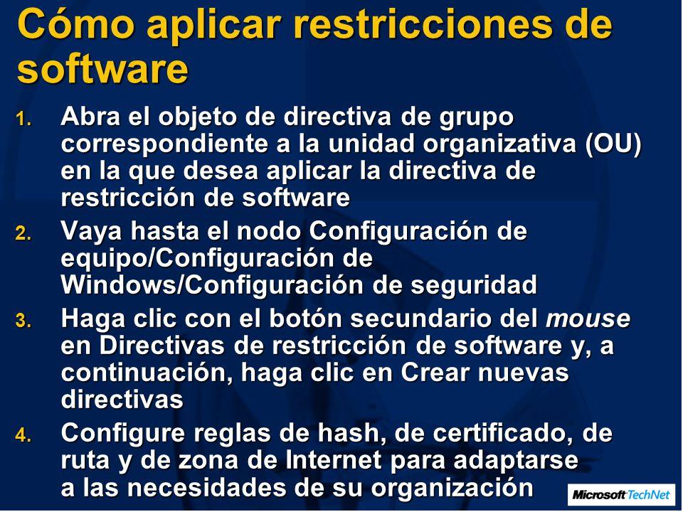 Cómo aplicar restricciones de software 1.