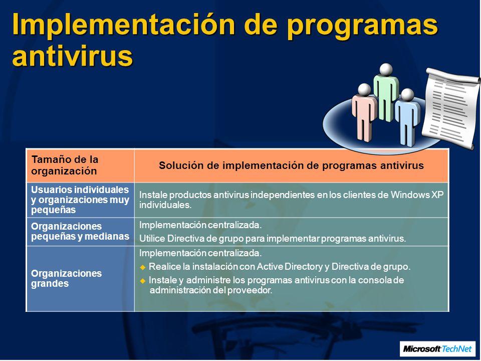 Implementación de programas antivirus Tamaño de la organización Solución de implementación de programas antivirus Usuarios individuales y organizaciones muy pequeñas Instale productos antivirus independientes en los clientes de Windows XP individuales.