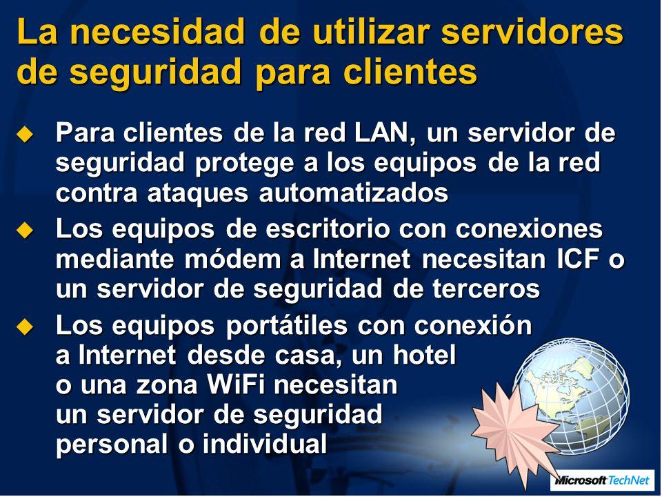 Para clientes de la red LAN, un servidor de seguridad protege a los equipos de la red contra ataques automatizados Para clientes de la red LAN, un servidor de seguridad protege a los equipos de la red contra ataques automatizados Los equipos de escritorio con conexiones mediante módem a Internet necesitan ICF o un servidor de seguridad de terceros Los equipos de escritorio con conexiones mediante módem a Internet necesitan ICF o un servidor de seguridad de terceros Los equipos portátiles con conexión a Internet desde casa, un hotel o una zona WiFi necesitan un servidor de seguridad personal o individual Los equipos portátiles con conexión a Internet desde casa, un hotel o una zona WiFi necesitan un servidor de seguridad personal o individual La necesidad de utilizar servidores de seguridad para clientes