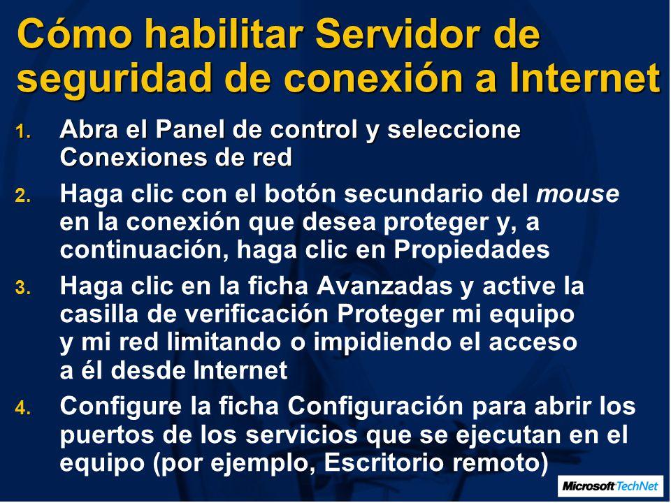 Cómo habilitar Servidor de seguridad de conexión a Internet 1.