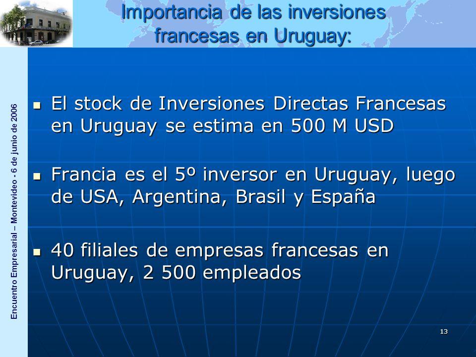Encuentro Empresarial – Montevideo - 6 de junio de 2006 13 Importancia de las inversiones francesas en Uruguay: El stock de Inversiones Directas Francesas en Uruguay se estima en 500 M USD El stock de Inversiones Directas Francesas en Uruguay se estima en 500 M USD Francia es el 5º inversor en Uruguay, luego de USA, Argentina, Brasil y España Francia es el 5º inversor en Uruguay, luego de USA, Argentina, Brasil y España 40 filiales de empresas francesas en Uruguay, 2 500 empleados 40 filiales de empresas francesas en Uruguay, 2 500 empleados