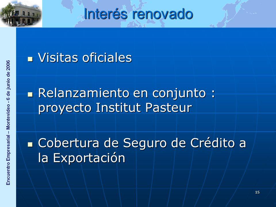 Encuentro Empresarial – Montevideo - 6 de junio de 2006 15 Interés renovado Visitas oficiales Visitas oficiales Relanzamiento en conjunto : proyecto Institut Pasteur Relanzamiento en conjunto : proyecto Institut Pasteur Cobertura de Seguro de Crédito a la Exportación Cobertura de Seguro de Crédito a la Exportación
