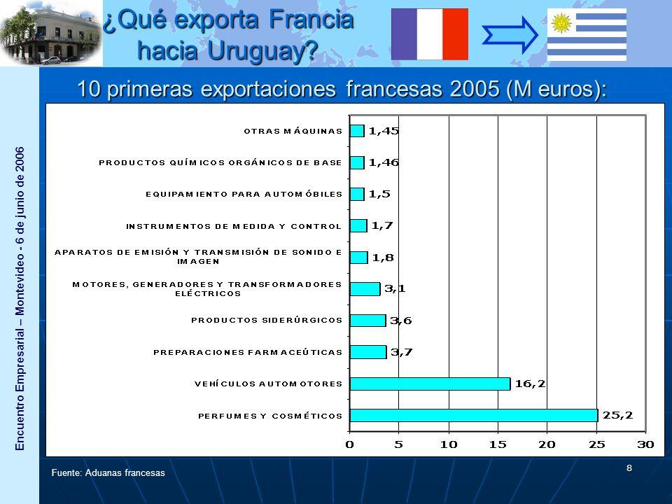 Encuentro Empresarial – Montevideo - 6 de junio de 2006 9 2005 Valor (en M EUR) % de las exportaciones Evolució n / 2004 Bienes de consumo 31,039%+14% Productos industria automotriz 17,722%+92% Bienes de capital 13,317%+68% Bienes intermedios 13,217%-17% Productos Agroalimentarios 2,84%-15% Total79,3100%+8,6% Fuente: Aduanas francesas ¿Qué exporta Francia hacia Uruguay?