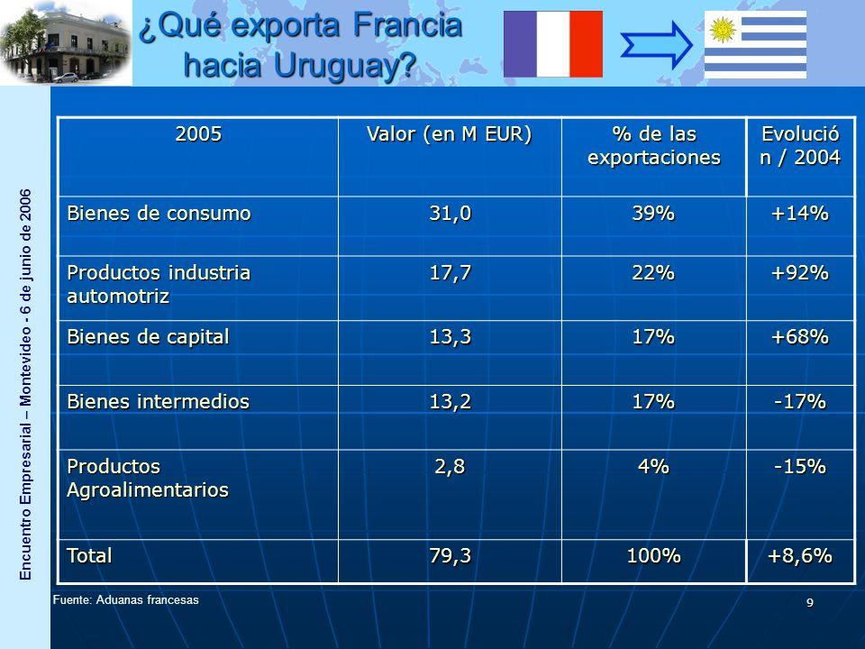 Encuentro Empresarial – Montevideo - 6 de junio de 2006 9 2005 Valor (en M EUR) % de las exportaciones Evolució n / 2004 Bienes de consumo 31,039%+14% Productos industria automotriz 17,722%+92% Bienes de capital 13,317%+68% Bienes intermedios 13,217%-17% Productos Agroalimentarios 2,84%-15% Total79,3100%+8,6% Fuente: Aduanas francesas ¿Qué exporta Francia hacia Uruguay