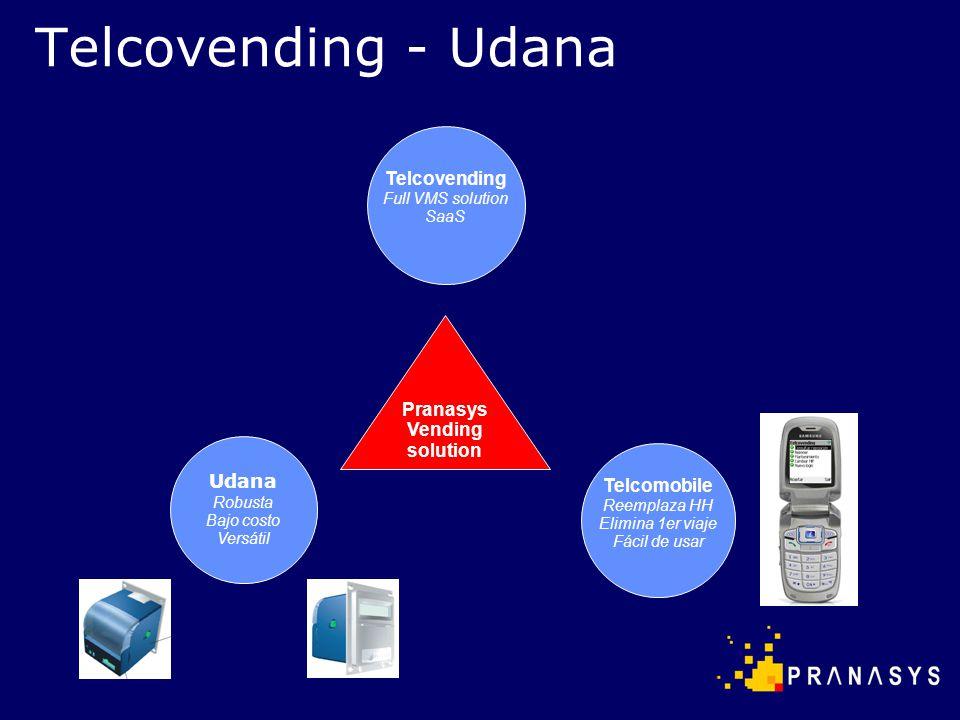 Telcovending - Udana Pranasys Vending solution Telcovending Full VMS solution SaaS Udana Robusta Bajo costo Versátil Telcomobile Reemplaza HH Elimina