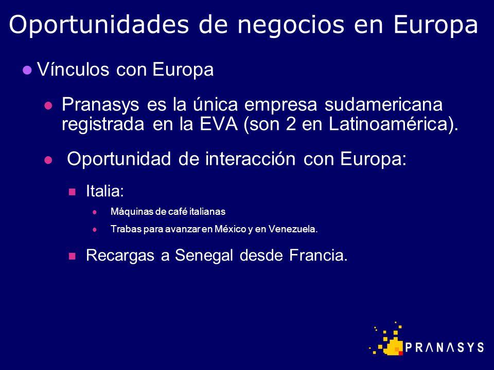 Vínculos con Europa Pranasys es la única empresa sudamericana registrada en la EVA (son 2 en Latinoamérica). Oportunidad de interacción con Europa: It