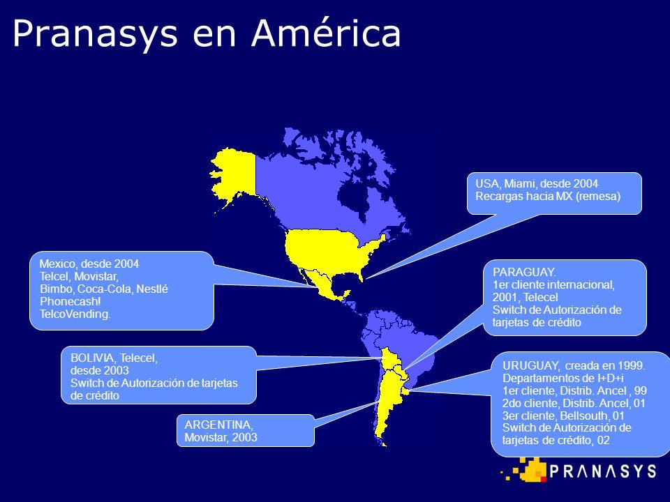 URUGUAY, creada en 1999. Departamentos de I+D+i 1er cliente, Distrib. Ancel, 99 2do cliente, Distrib. Ancel, 01 3er cliente, Bellsouth, 01 Switch de A