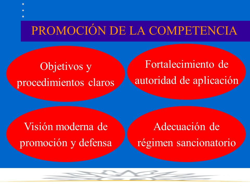 PROMOCIÓN DE LA COMPETENCIA Objetivos y procedimientos claros Fortalecimiento de autoridad de aplicación Visión moderna de promoción y defensa Adecuación de régimen sancionatorio