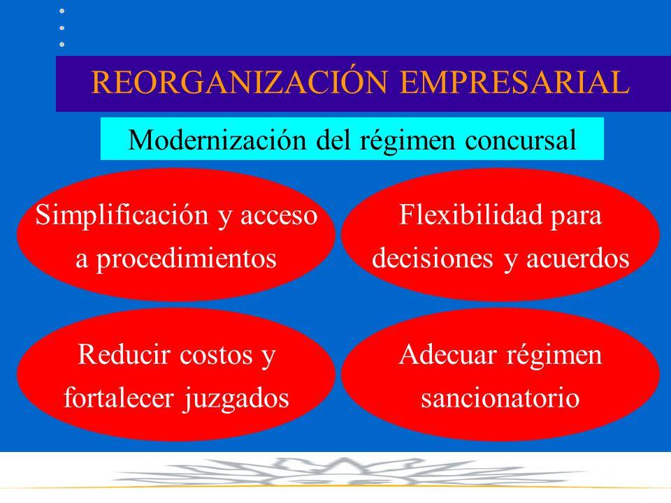 REORGANIZACIÓN EMPRESARIAL Modernización del régimen concursal Simplificación y acceso a procedimientos Reducir costos y fortalecer juzgados Flexibilidad para decisiones y acuerdos Adecuar régimen sancionatorio