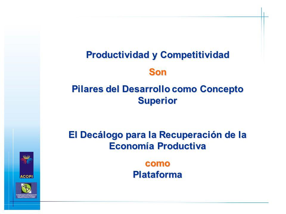 Productividad y Competitividad Son Pilares del Desarrollo como Concepto Superior El Decálogo para la Recuperación de la Economía Productiva como Plata