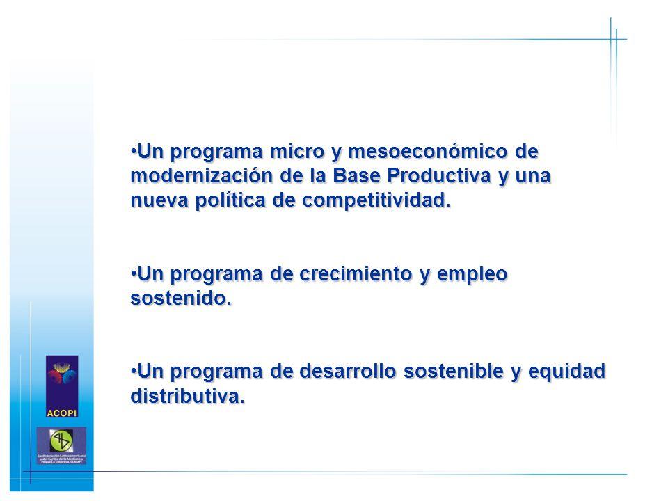 Un programa micro y mesoeconómico de modernización de la Base Productiva y una nueva política de competitividad.Un programa micro y mesoeconómico de m