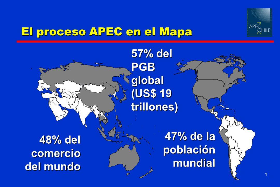 1 57% del PGB global (US$ 19 trillones) 48% del comercio del mundo 47% de la población mundial El proceso APEC en el Mapa
