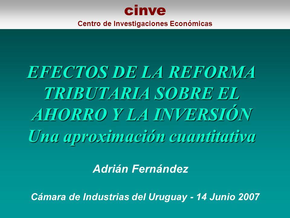 EFECTOS DE LA REFORMA TRIBUTARIA SOBRE EL AHORRO Y LA INVERSIÓN Una aproximación cuantitativa Cámara de Industrias del Uruguay - 14 Junio 2007 Adrián Fernández cinve Centro de Investigaciones Económicas