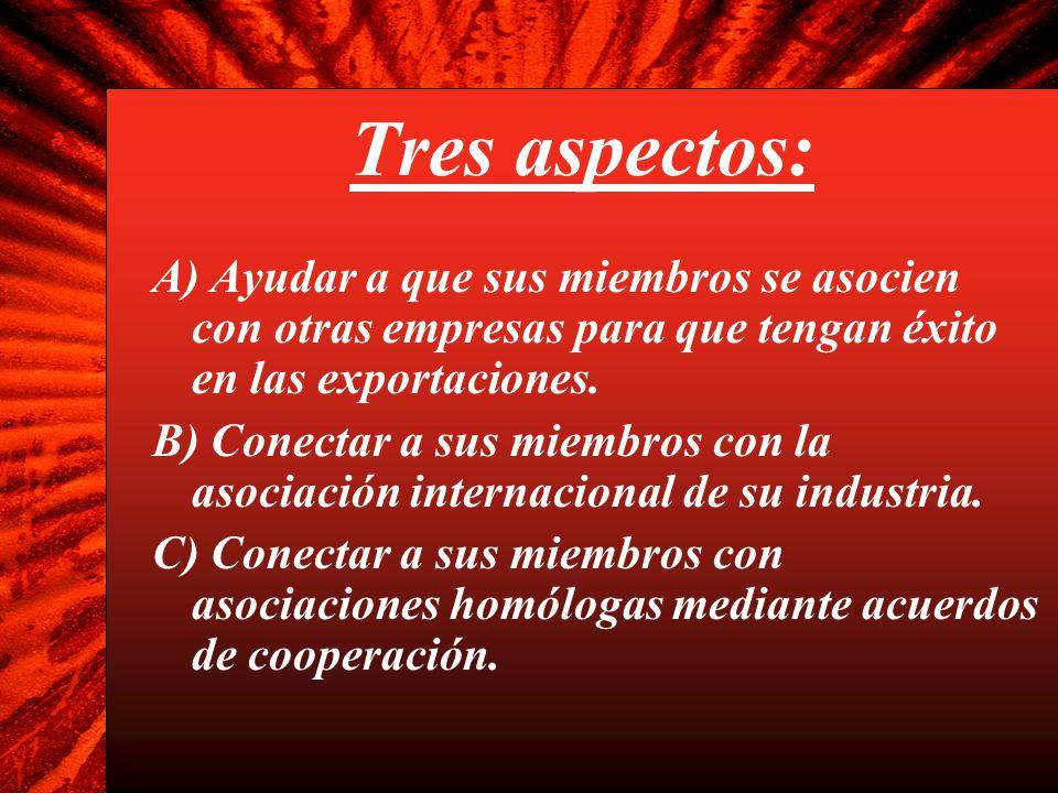 Tres aspectos: A) Ayudar a que sus miembros se asocien con otras empresas para que tengan éxito en las exportaciones.