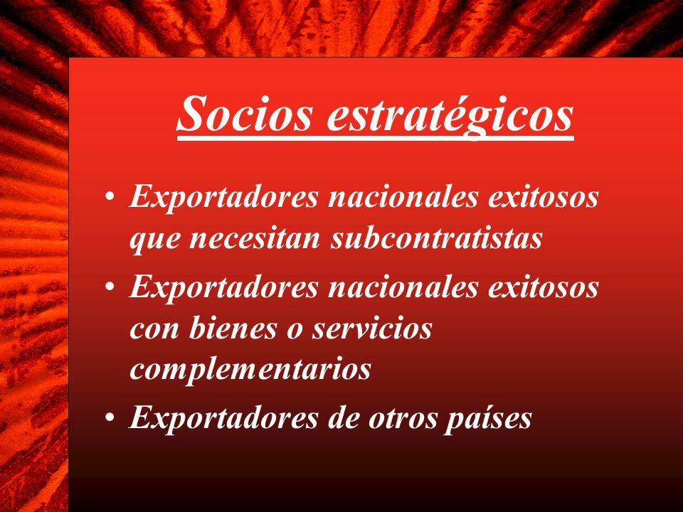 Socios estratégicos Exportadores nacionales exitosos que necesitan subcontratistas Exportadores nacionales exitosos con bienes o servicios complementa