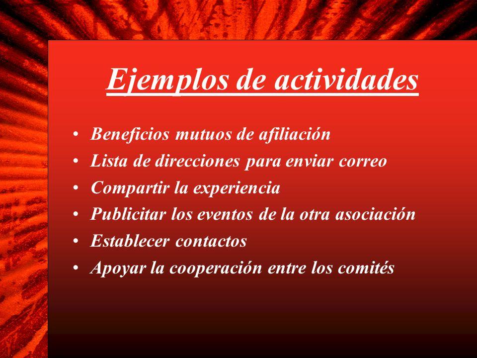 Ejemplos de actividades Beneficios mutuos de afiliación Lista de direcciones para enviar correo Compartir la experiencia Publicitar los eventos de la