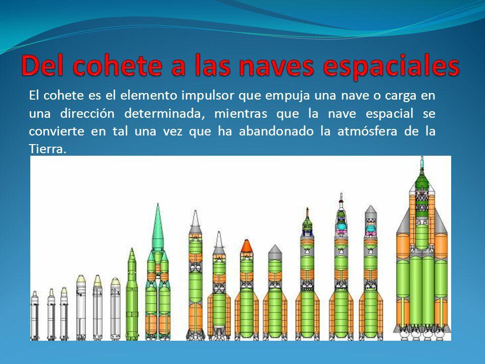 El cohete es el elemento impulsor que empuja una nave o carga en una dirección determinada, mientras que la nave espacial se convierte en tal una vez