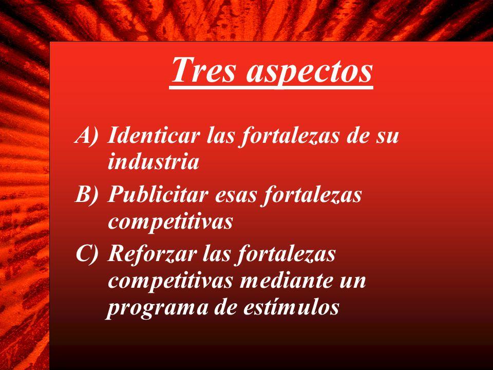Tres aspectos A)Identicar las fortalezas de su industria B)Publicitar esas fortalezas competitivas C)Reforzar las fortalezas competitivas mediante un programa de estímulos
