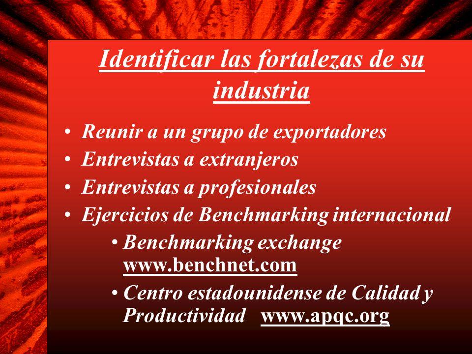 Identificar las fortalezas de su industria Reunir a un grupo de exportadores Entrevistas a extranjeros Entrevistas a profesionales Ejercicios de Bench