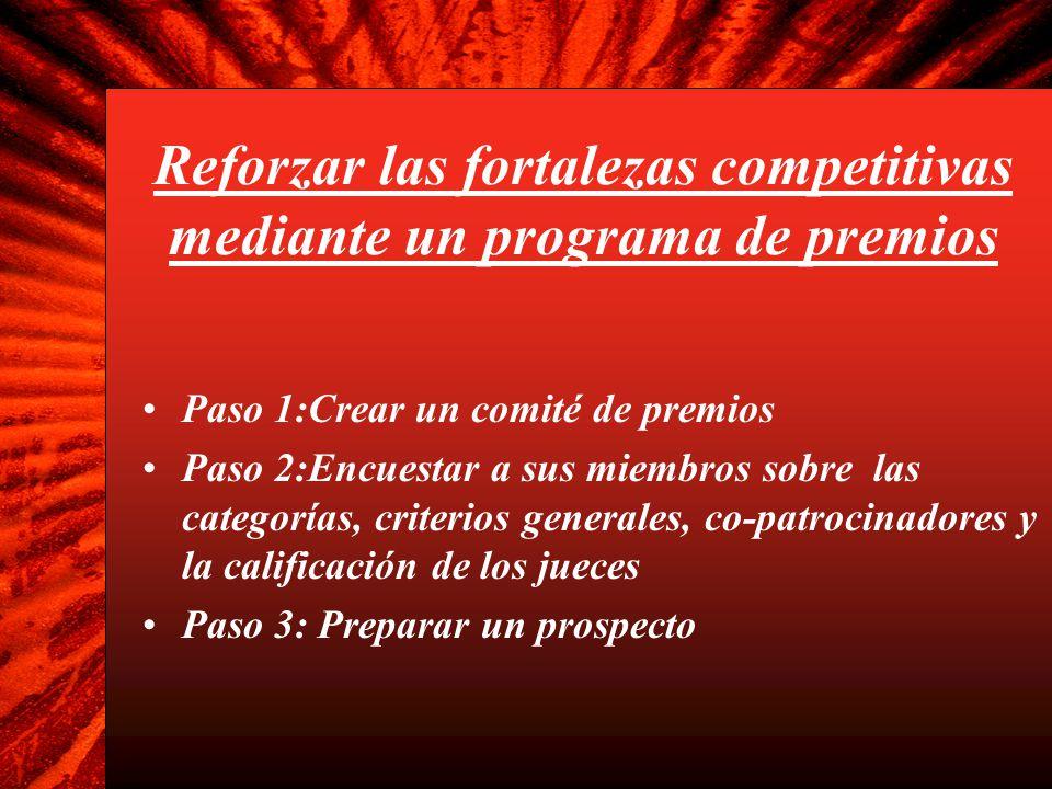 Reforzar las fortalezas competitivas mediante un programa de premios (2) Paso 4: Acérquense a co-patrocinadores idóneos con el prospecto Paso 5: Seleccionen a un co-patrocinador Paso 6: Determinen las categorías de los premios (ver la Hoja de trabajo de resumen) Paso 7: Determinen los criterios de calificación