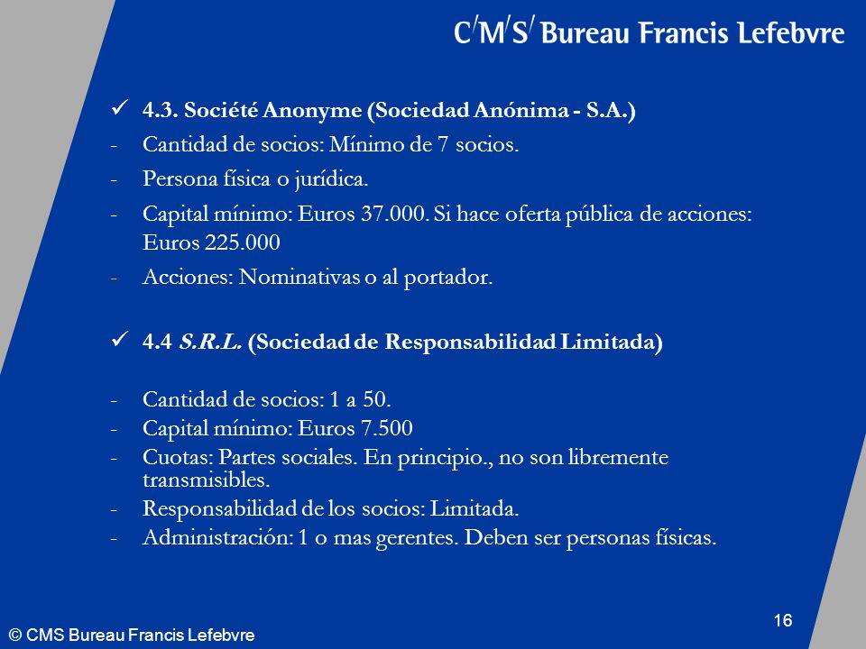 © CMS Bureau Francis Lefebvre 16 4.3.