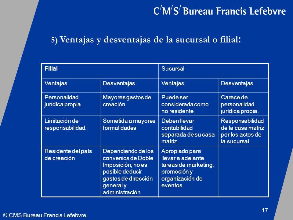 © CMS Bureau Francis Lefebvre 17 FilialSucursal VentajasDesventajasVentajasDesventajas Personalidad jurídica propia.