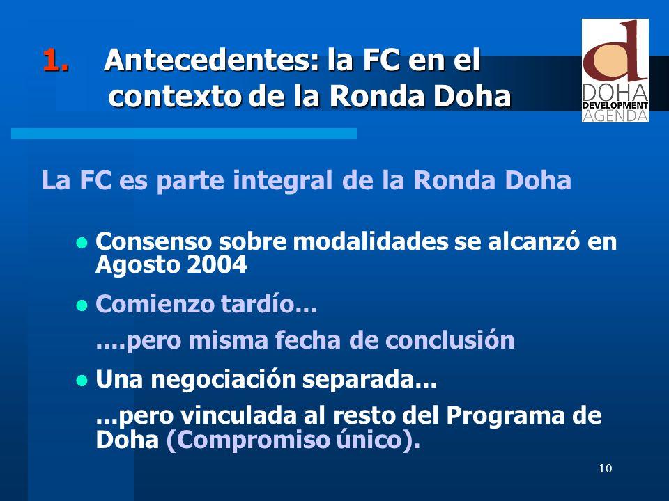 10 1. Antecedentes: la FC en el contexto de la Ronda Doha La FC es parte integral de la Ronda Doha Consenso sobre modalidades se alcanzó en Agosto 200