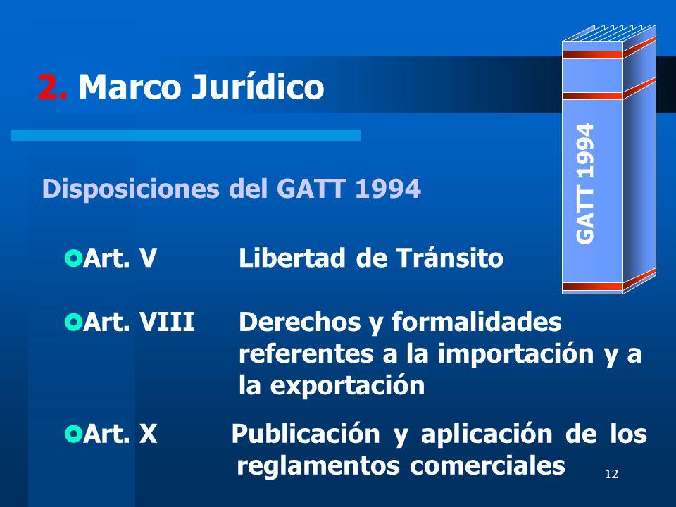 12 2. Marco Jurídico Libertad de Tránsito Publicación y aplicación de los reglamentos comerciales Derechos y formalidades referentes a la importación