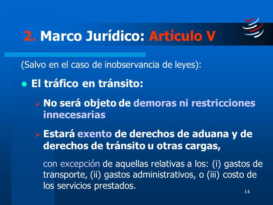 14 2. Marco Jurídico: Artículo V (Salvo en el caso de inobservancia de leyes): El tráfico en tránsito: No será objeto de demoras ni restricciones inne