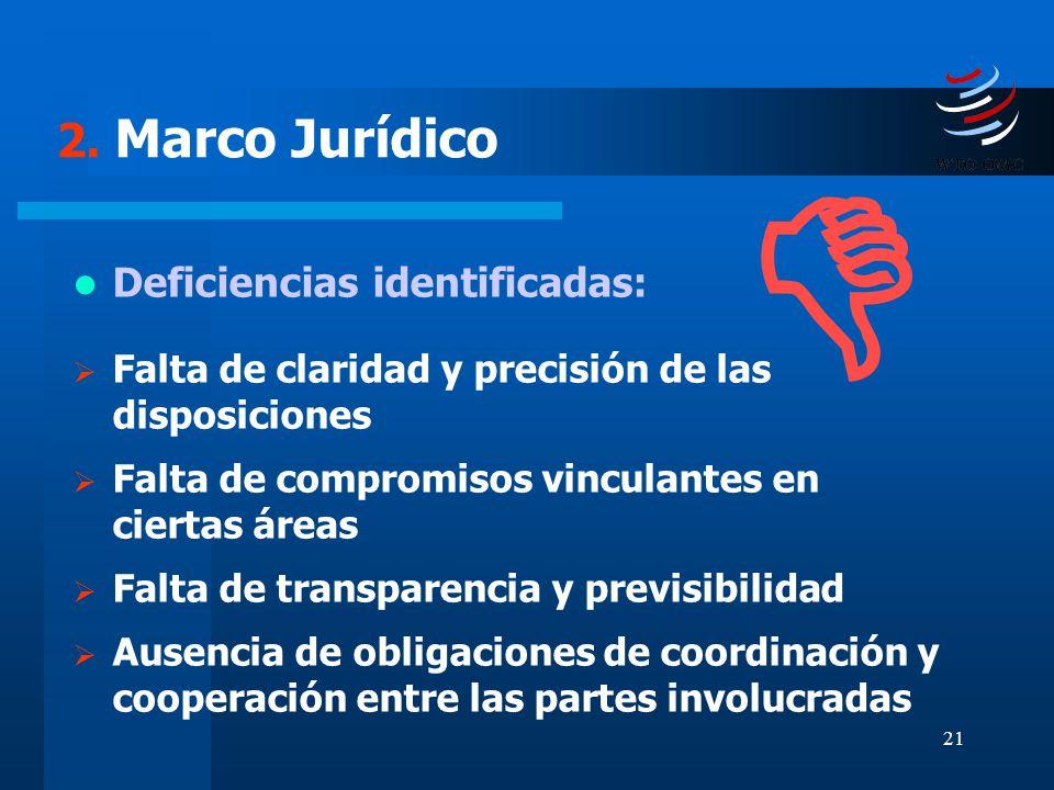 21 2. Marco Jurídico Deficiencias identificadas: Falta de claridad y precisión de las disposiciones Falta de compromisos vinculantes en ciertas áreas