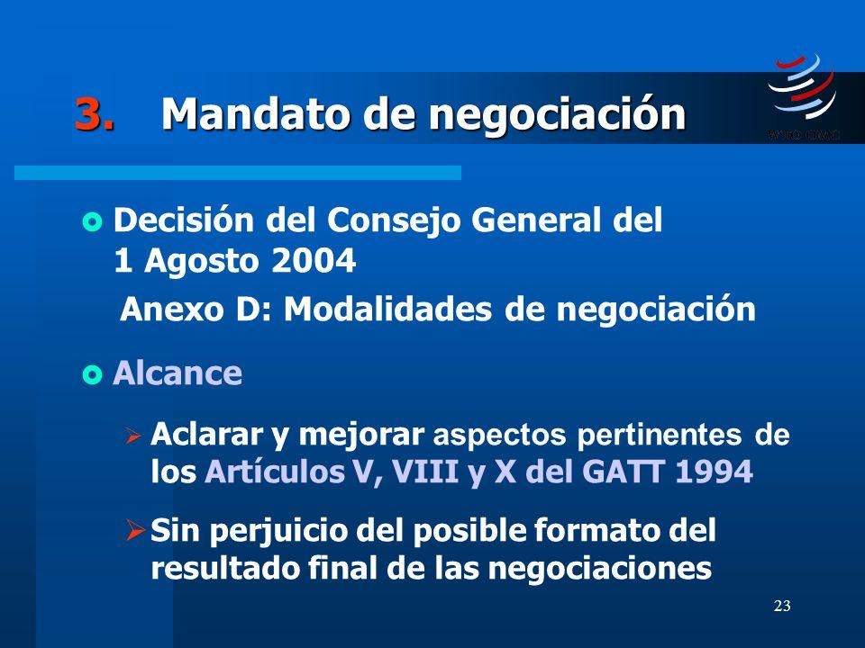 23 3.Mandato de negociación Decisión del Consejo General del 1 Agosto 2004 Anexo D: Modalidades de negociación Alcance Aclarar y mejorar aspectos pert